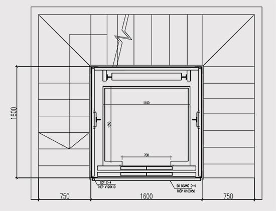 thiet kế hố thang máy bằng khung thép